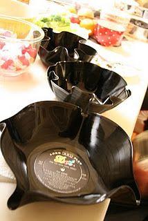 DIY Vinyl Record Bowls. Love love love.