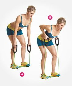 Sculpt a tighter stomach with resistance band bent-over rows. Click through for directions PLUS 9 more ab exercises that beat crunches: http://www.womenshealthmag.com/fitness/abs-exercises