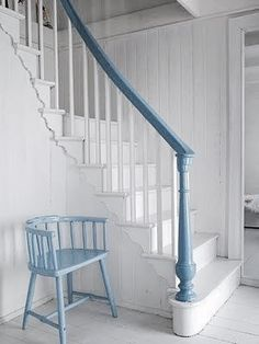 white is such a hard color to keep clean on a banister railing....love this soft cornflower blue.