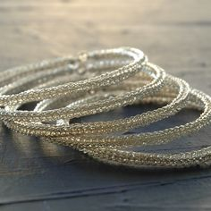 Three silver wire crocheted bangles , handmade , unique design , urban jewelry