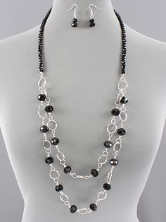 Long Black Beaded Layer Link Silver