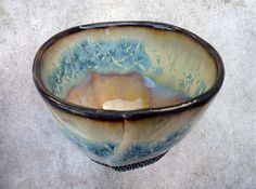 Crystalline Glaze Tea Bowl in Yellow and Blue Crystalline Glaze, Ceramic Art Vessel, Hand Built from Porcelain 4 in x 3 in tall. Food Safe