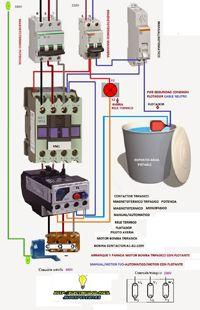 Esquemas eléctricos: arranque y parada motor bomba trifasica con flotan...