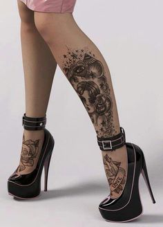 Leg tattoos, and foot tattoos. Lower Leg Tattoos, Foot Tattoos, Sexy Tattoos, Body Art Tattoos, Tattoo Art, White Tattoos, Ankle Tattoos, 3d Tattoos, Tattoo Girls