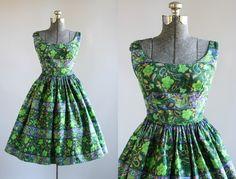 Vintage 1950s Dress / 50s Cotton Dress / TORI RICHARD Green Floral Print Sun Dress XS/S by TuesdayRoseVintage on Etsy https://www.etsy.com/listing/507779423/vintage-1950s-dress-50s-cotton-dress