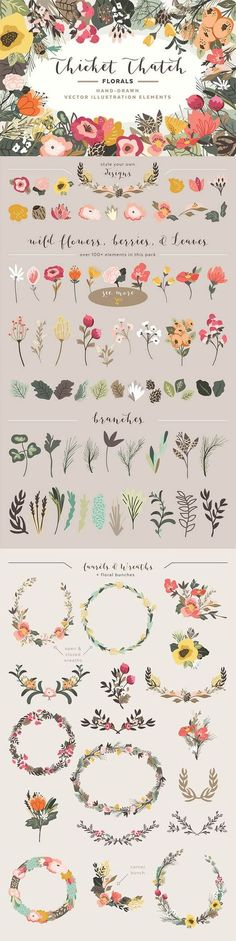 Flowers and leaves. The All-Purpose Vector Supply Kit Painting & Drawing, Illustrator, Illustration Blume, Pattern Drawing, Grafik Design, Design Elements, Watercolor Art, Pattern Design, Art Projects