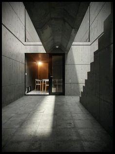 大阪 Row House (Azuma House) by Tadao Ando, photo by Matheus Passos Minimal Architecture, Architecture Design, Casa Azuma, 3d Architectural Visualization, Tadao Ando, Textured Walls, Concrete, Stairs, Design Inspiration
