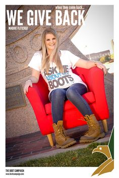 """This is Boot Campaign Fan and Military Supporter Maddie Fletcher. Maddie met her Marine Corp fiancee Eric while they were both attending Texas Tech University in Lubbock, TX. She graduated this past December and he proposed to her right after!""""    Photo courtesy of: Micaela Rosinski"""