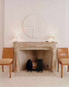 stone fireplace minimalist living room