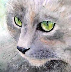 Ocean Crest Cat | Mary Gibbs Art - watercolour