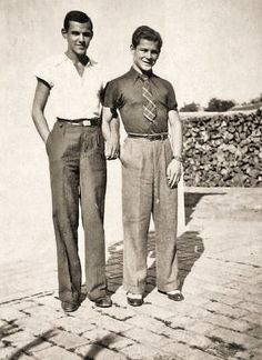 Two Men, probably c. 1930s pants trousers shirt tie belt shoes found photo friends vintage fashion style