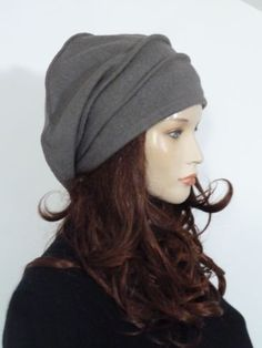 Fabulous lagenlook style effortlessly chic taupe boiled wool slouchy beanie hat