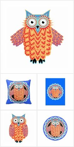 Colorful tribal owl design in bright gold, red and blue. Red And Blue, Doodle, Owl, Cards, Collection, Color, Design, Scribble, Red And Teal