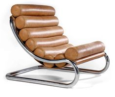 Michel Boyer; Chromed Tubular Steel and Leather Lounge Chair, 1971.