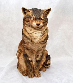 Cat sculpture by Karen Fawcett Ceramic Birds, Ceramic Animals, Ceramic Art, Sculptures Céramiques, Bird Sculpture, Ceramic Sculptures, Clay Cats, Domestic Cat, Cat Drawing