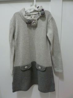 9136f61a58e MAYORAL CHIC BOTIQUE GIRLS GRAY SWEATER DRESS~EUC~DETACHABLE COLLAR~SIZE 6   Mayoral