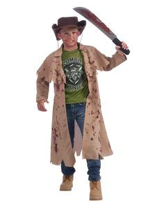 Be prepared to knock them dead in this Zombie Hunter boys costume. The blood-spattered tan coat of this zombie hunter costume comes complete with a green T-Shirt and a matching hat so you are properly equipped for the rigors of serious zombie pursuit and capture.
