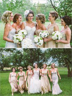 gold bridesmaid dresses @weddingchicks
