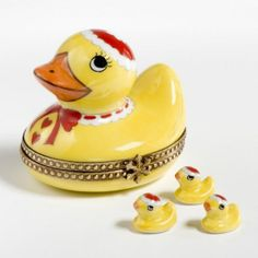Cute Mama Duck with Her Babies Limoges Trinket Box