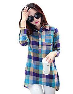 Feminino Camiseta Casual Simples Primavera / Outono,Xadrez Azul Poliéster Colarinho de Camisa Manga Longa Média