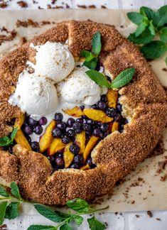 Blueberry Peach Galette with Cinnamon Sugar Crust