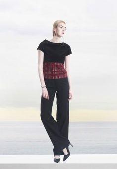 COLE-COOL-Women-039-s-Elegant-Black-Velvet-and-Red-Silk-Checks-Chiffon-Top