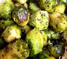Italian Brussel Sprouts: Ingredients: bag of frozen brussel sprouts, olive oil or butter, fresh garlic, red pepper flakes, italian seasoning, salt and pepper to taste Mix Ingredients to your liking and roast at 400° until tender.