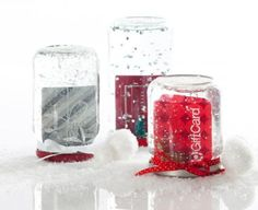 DIY Gift Card Snow Globes idea from Smarty Had A Party.