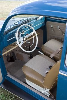 Tweed Car Interior | pretty sweet blue w/ tweed interior