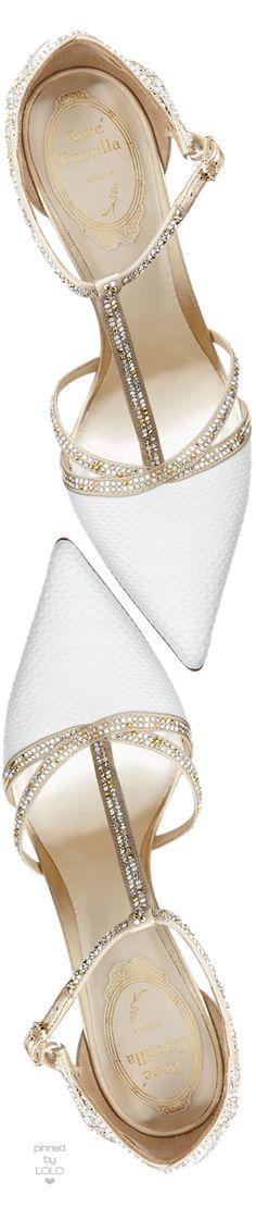 Rene Caovilla Crystal Snakeskin T-Strap Sandal | LOLO❤︎