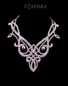 """""""Memories of You"""" - Swarovski ballroom necklace. Ballroom dance jewelry, ballroom dance accessories. www.tzafora.com Copyright © 2015 Tzafora. Handmade in Canada."""