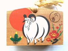 Japanese Shrine Temple  Wood Plaque EMA Mishima Shrine Year of Sheep Excellent Luck E8-33 by VintageFromJapan on Etsy