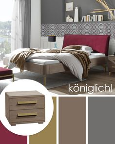 "Luxuriöses Bett ""Quinovia"" aus steingrau lackierter Eiche mit elegantem Samt-Kopfteil.  #bett #schlafzimmer #samt #samtbett #eiche #luxuriösesbett #trend #schlafzimmertrends Elegant, Bed, Design, Furniture, Home Decor, Head Board Bed, Oak Tree, Velvet, Gray"