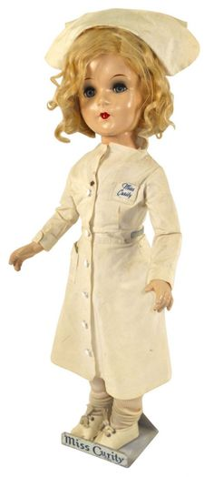 Vintage Advertising figure, Miss Curity Nurse doll on advertising stand, jointed head, arms & legs
