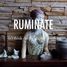 Ruminate |ˈro͞oməˌnāt| Mid 16th century origin from Latin ruminat- 'chewed over,' from the verb ruminari #beautifulwords #wordoftheday #artwork #hallway #homeawayfromhome #sculpture #mismatch #greetings
