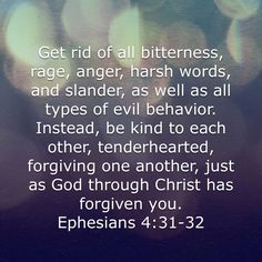 ~Ephesians 4:31 & 32~ We should all take this as advice to consider and adapt in life. It's exactly what being a Christian is all about.
