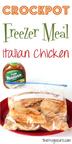 Crockpot Freezer Meal Recipe: Italian Chicken #slowcooker #crockpot