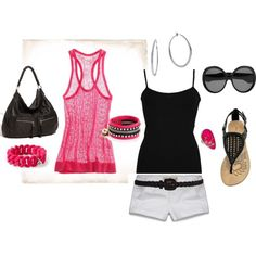 Pink, White and Black, created by sapple324 on Polyvore