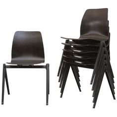 Set of Six Prouve Style Single Shell Stacking Chair | From a unique collection of antique and modern chairs at https://www.1stdibs.com/furniture/seating/chairs/