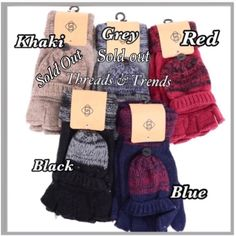 Mitten/Glove Combo Knit mitten/glove combo. Fingerless gloves with combo mitten to keep your fingers warm when your not texting on your phone. Colors black, khaki, grey, red & blue. Bundle and save. Threads & Trends Accessories Gloves & Mittens