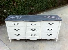 Chalkboard-topped French Provincial Dresser