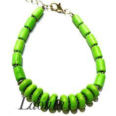 Bracelet fantaisie en howlite vert, bijoux pas chers