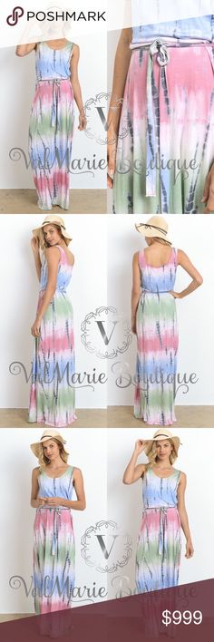 COMING SOON - PASTEL TIE DYE MAXI DRESS MADE IN USA- this stunning tie dye maxi dress is one of a kind and so comfortable! Features long bodice and tie waist. Limited quantities available so get them fast. This item was pricey due to Made on USA costs. Price reflects that. Price is firm unless bundled. Fits true to size women's sizing, not juniors. S(2-4) M(6-8) L(10-12) - 96% rayon, 4% spandex. ValMarie Boutique Dresses Maxi