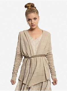 """Transform into a Jakku scavenger in this on-trend cardigan from <i>Star Wars: The Force Awakens</i> featuring cold shoulder styling, ruched sleeves, an open front and hood.<br><br>""""Rey's costume immediately called for drape and the sleeves made us want it to be a sweater. We thought if the fronts were long, they could be crossed and the front, paired with a belt, and also serve as coplay, so, double duty!"""" - Leetal Platt (2015 Her Universe Fashion Show Audience Winner)<br><ul><li…"""