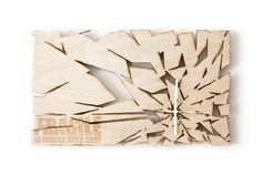 Splinter Birch plywood laser cut hanging wall clock by FragmentID, €90.00