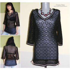 Crochet blouse black cotton, crochet lacy mesh blouse, crochet blouse... ($76) ❤ liked on Polyvore featuring tops and blouses