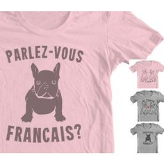 French Bulldog Clothing Frenchie T Shirt Je T'adore I Adore You in... ($12) ❤ liked on Polyvore featuring tops, t-shirts, silver, women's clothing, vintage shirts, v neck shirts, slim t shirt, vintage tees and dog shirt
