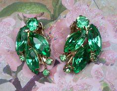vintage green rhinestone earrings, $30