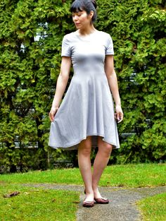 FREE SEWING PATTERN: High Low Skater Dress : LEARN HOW TO MAKE AN EASY HIGH LOW SKATER DRESS WITH AN EASY SEWING TUTORIAL