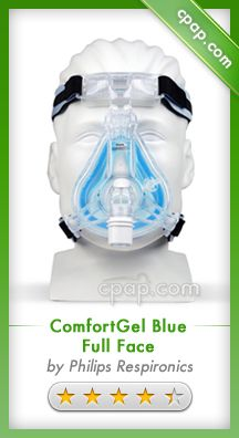 "The ComfortGel Blue Full Face Mask draws on the advancements of Philips Respironics masks to provide a comfortable and reliable seal. ""Blue"" gel Sure Seal Technology, along with the updated elbow and forehead pad, are designed for a custom seal and quiet operation. Click on the image above for more information!"